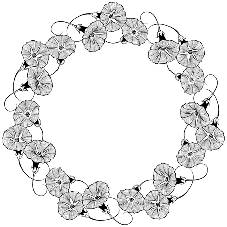 Floral round frame with bindweed on a white background. Vector illustration with place for text. Greeting card, invitation or isolated elements for design.