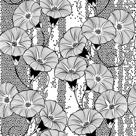 Floral seamless pattern with hand drawn bindweed flowers on a textured background. Vector black and white illustration. Ilustração