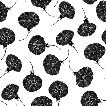 Seamless pattern with hand drawn bindweed flowers. Vector illustration. Black floral silhouettes on white background. Imagens - 104363139