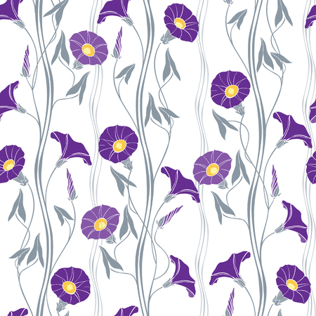 Floral seamless pattern with hand drawn bindweed flowers on a white background. Vector illustration.