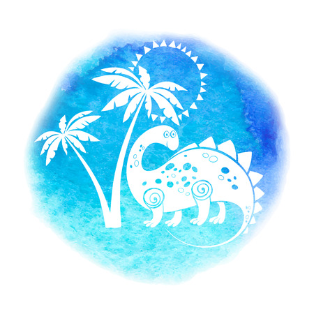 Vector illustration with a cute dinosaur under palms. White silhouettes on a blue-turquoise watercolor background. It can be an element of design, a greeting card or an invitation.