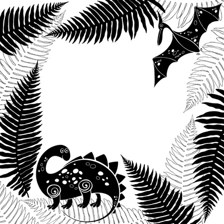 Card with cartoon dinosaur, pterodactyl and ferns. Black and white vector illustration with space for text. It can be an invitation, a greeting card or an element of your design.