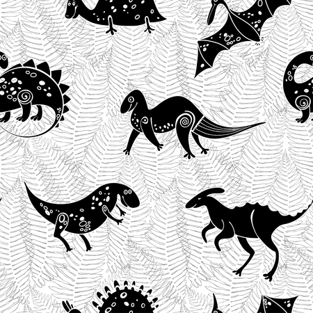Seamless pattern with silhouettes of cartoon dinosaurs on a background of ferns. Monochrome vector illustration.