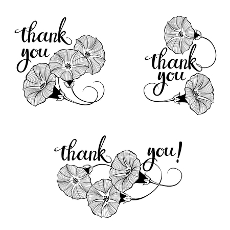 Thank you! Vector illustration with bindweed and handmade calligraphy on white background. Three monochrome variations. Ilustração
