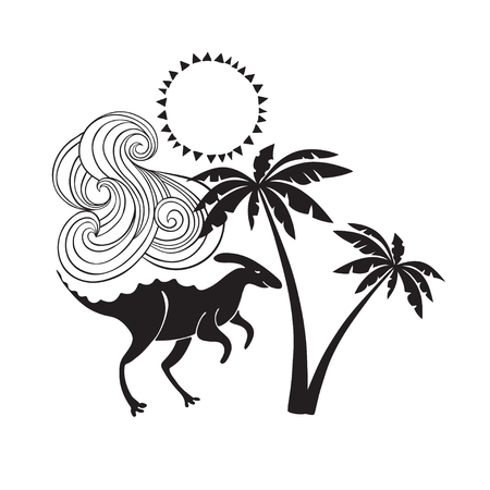 Vector illustration with a cute dinosaur under palms. Black silhouettes on white background. It can be an element of design, a greeting card or an invitation.