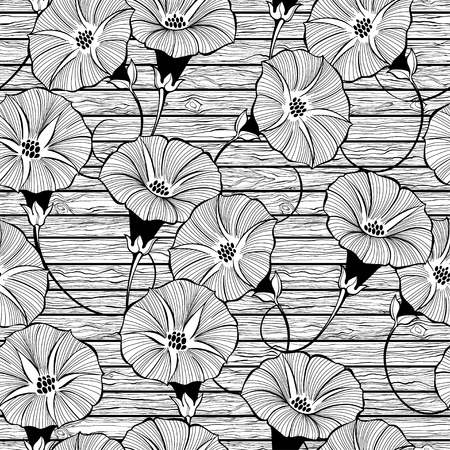 Floral seamless pattern with hand drawn bindweed flowers on the texture of wood. Vector black and white illustration. Ilustração