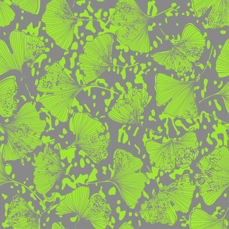 Seamless floral pattern with leaves of gingo biloba. Vector illustration.