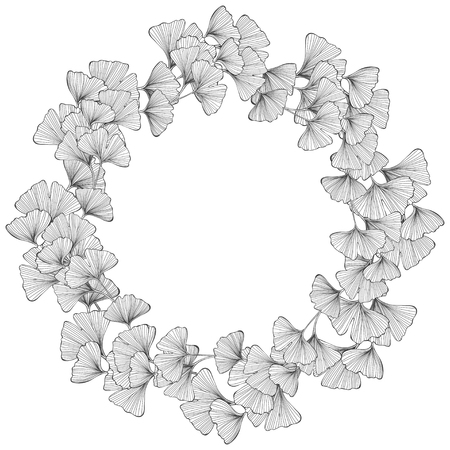 Floral round frame with ginkgo biloba on a white background. Vector illustration with place for text. Greeting card, invitation or isolated elements for design.