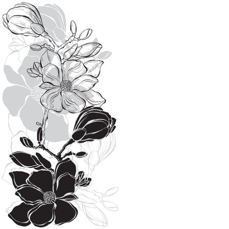 Blumenmuster mit Magnolie auf weißem Hintergrund. Vektorillustration mit Platz für Text. Grußkarte, Einladung oder isolierte Elemente für Design. Vertikale Komposition.