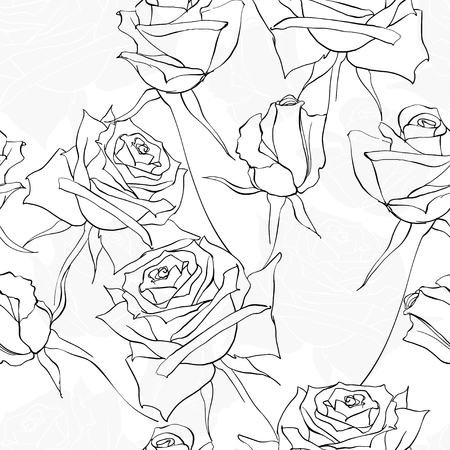 Seamless monochrome floral pattern with roses. Vector illustration on a white background.