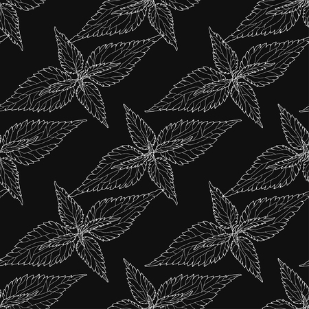 Monochrome floral pattern with leaves of nettle on black background. Seamless background. Illustration