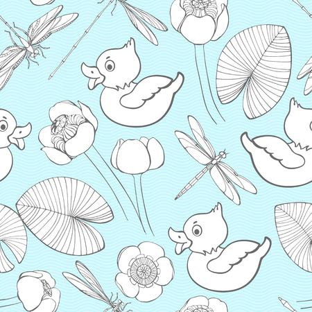 Seamless pattern with ducklings, water lilies and dragonflies on a blue wave background. Vector illustration.