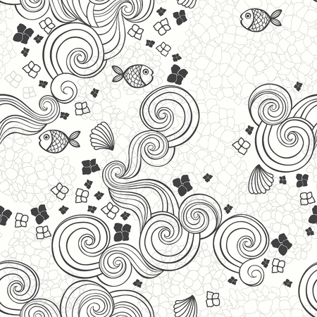 Abstract seamless pattern with hydrangeas and fishes, waves. Vector illustration on a sea theme.