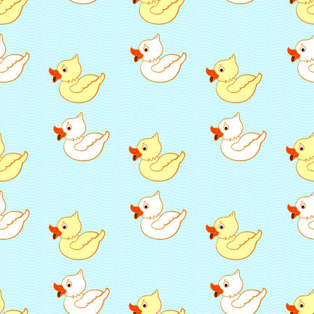 Seamless pattern with floating ducklings. Vector illustration.