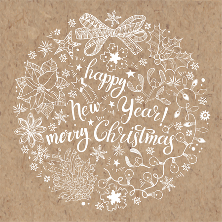 Christmas and New Year background on kraft paper. Vector lettering.