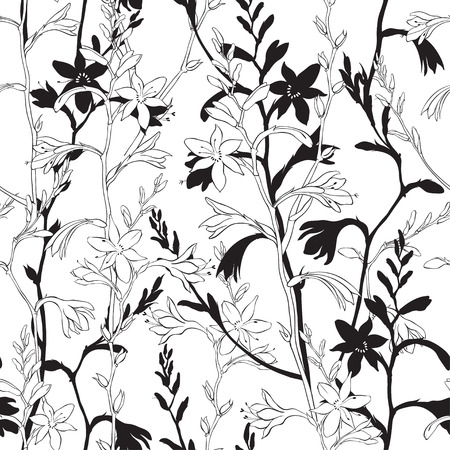 Seamless floral pattern with montbretia. Vector monochrome illustration on a white background. Standard-Bild - 110681141