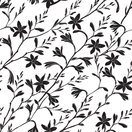 Seamless floral pattern with montbretia. Vector black silhouettes on a white background. Standard-Bild - 110681142