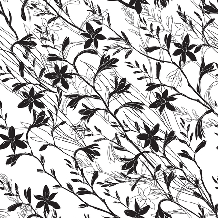 Seamless floral pattern with montbretia. Vector monochrome illustration on a white background. Standard-Bild - 110681143