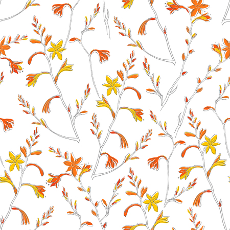 Seamless floral pattern with montbretia. Vector illustration on a white background. Standard-Bild - 110681151