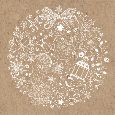 Christmas and New Year background on kraft paper. Vector illustration of a circle with traditional festive elements.