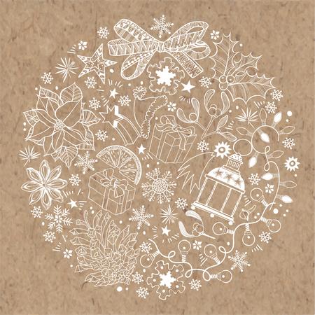 Kerstmis en Nieuwjaar achtergrond op kraftpapier. Vectorillustratie van een cirkel met traditionele feestelijke elementen.