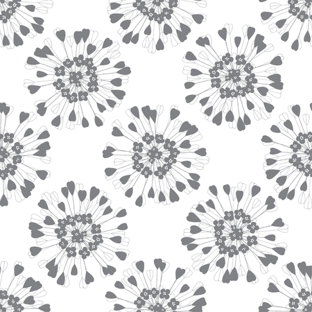Shepherd's purse. Seamless pattern with inflorescences of a plant. Vector monochrome illustration on a white background. 矢量图像