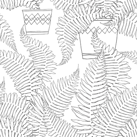 Seamless pattern with fern in pots on white background.