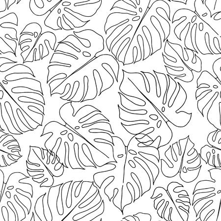 Nahtloses Muster mit Monsterablättern auf weißem Hintergrund. Handgezeichnete Blattkonturen. Vektorgrafik