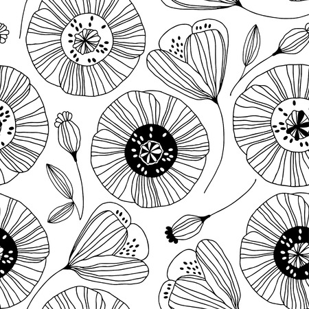 Floral background with abstract poppies. Hand-drawn vector illustration.