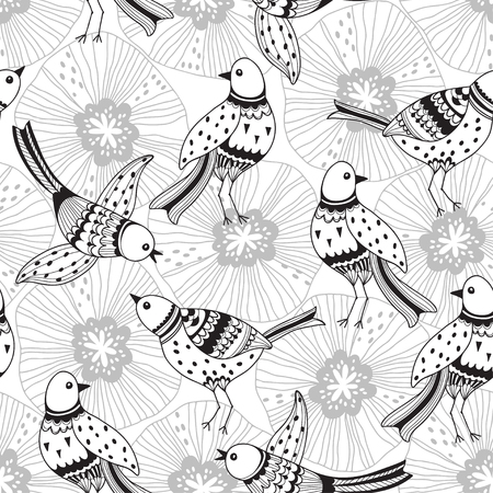 Seamless background with cartoon birds and flowers. Cartoon nature background, perfect for textiles, wallpaper, wrapping paper.