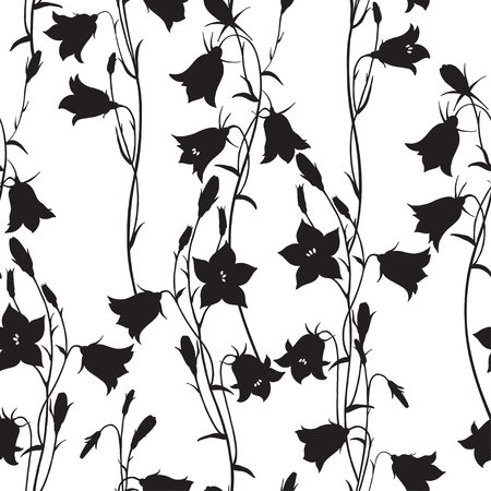 Monochrome floral background. Vector illustration. Ilustração
