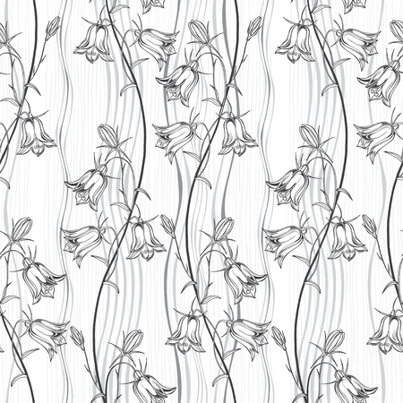 Bluebells on a striped background. Monochrome floral background. Vector illustration.