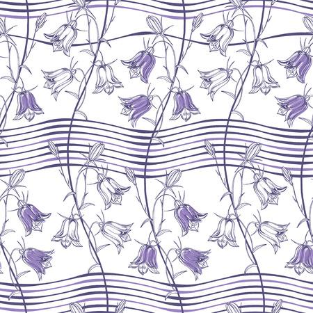Bluebells on a striped background. Floral background. Vector illustration.