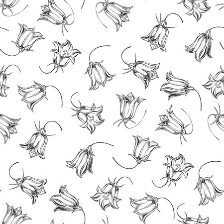 Bluebells. Monochrome floral background. Vector illustration. Stock Illustratie