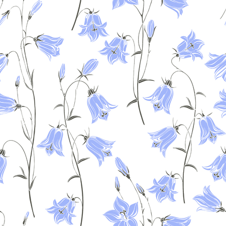 Bluebells. Floral background. Vector illustration. Ilustração