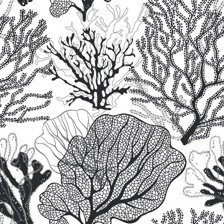 Korallenriff. Vektorhintergrund zum Thema Marine. Schwarz und weiß. Vektorgrafik