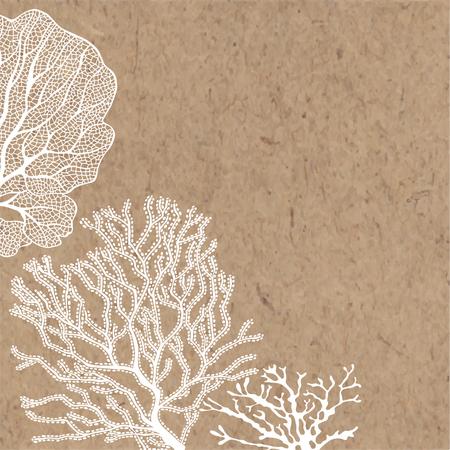 Algen auf Kraftpapier. Vektorhintergrund auf einem Seethema.