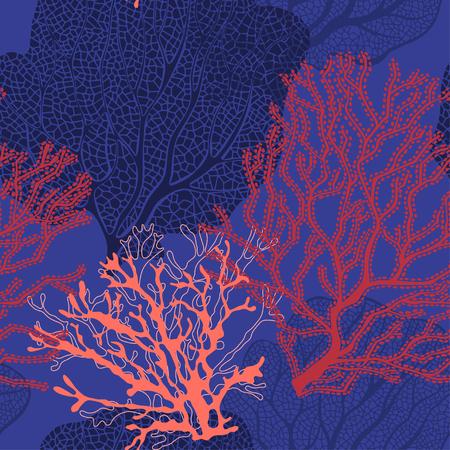 Récif de corail. Fond de vecteur sur le thème marin.
