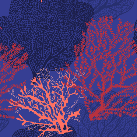 Coral reef. Vector background on the marine theme.