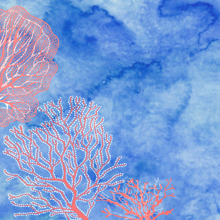 Marine background with corals  and place for text. Vector illustration of a blue watercolor background.  イラスト・ベクター素材
