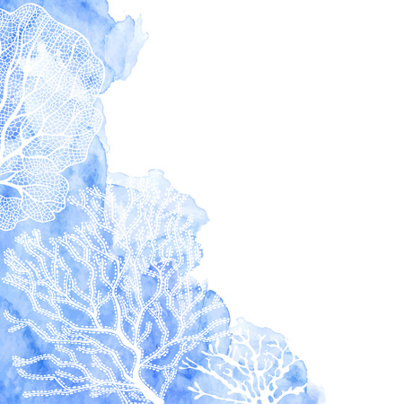 Seaweed on a blue watercolor background.  Vector background on a sea theme.Corner composition.