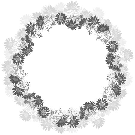 Floral round background with daisies and place for text  on a white background.