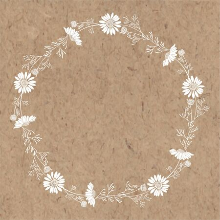 Floral round background with daisies and place for text  on a kraft paper. Stock Illustratie