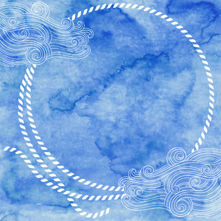 Nautical vector frame on blue watercolor background. Can be greeting cards, invitations, flyers, element for design.