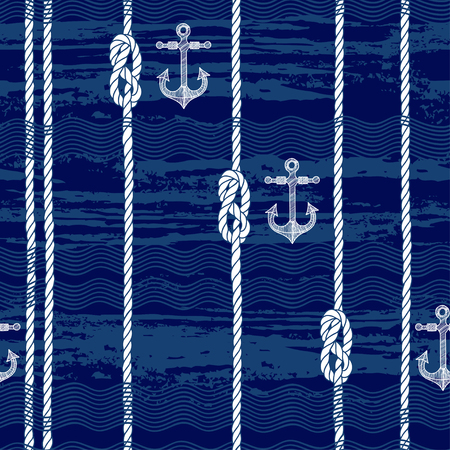 Endless background with marine rope,knots and waves. Abstract marine background.