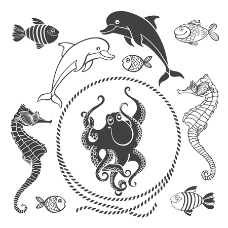 Vector set of sea animals on a white background . Elements for your design.  イラスト・ベクター素材