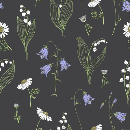 Bluebells, lilies of the valley and chamomile. Vector floral background. Ilustração