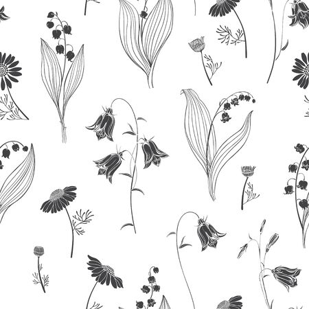 Bluebells, lilies of the valley and chamomile. Monochrome floral background. Vector illustration.