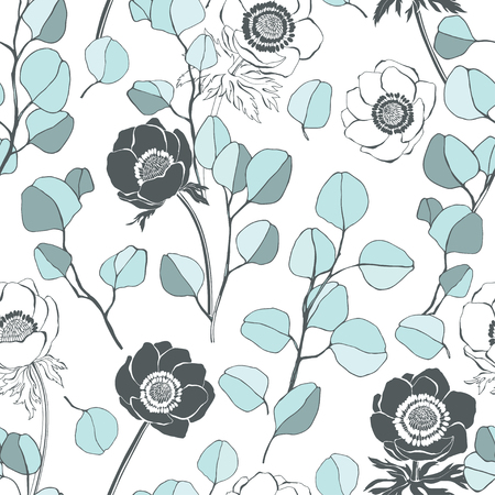 Anemones and eucalyptus branches. Seamless nature background. Vector. Stock Illustratie