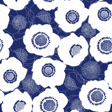 Anemones. Seamless nature background. Vector.